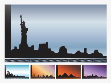 Cityscapes Vector Cards set vector