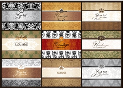 Classic pattern cards background 01 set vector