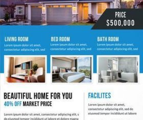 Clean Real Estate Flyer with Poster PSD Template