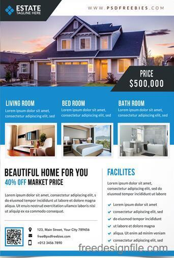 clean real estate flyer with poster psd template free download