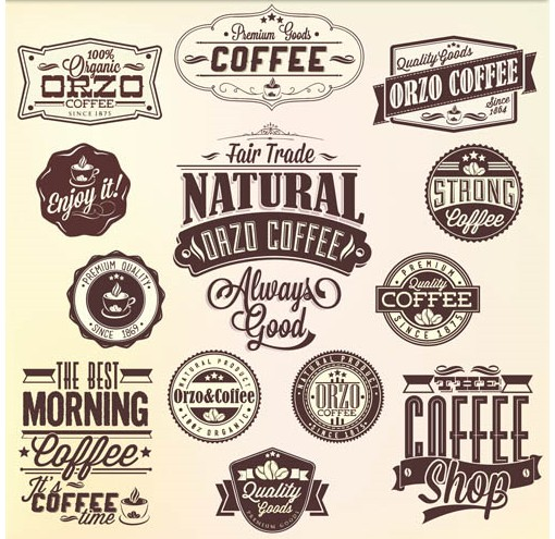 Coffee Labels vector graphics