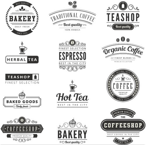 Coffee Retro Labels vector free download