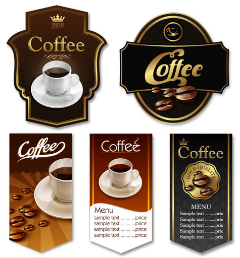 Coffee Shiny Labels vector graphic
