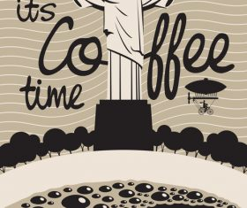 Coffee time vintage city poster template vector 02