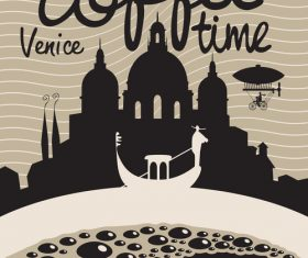 Coffee time vintage city poster template vector 04