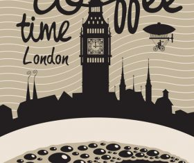 Coffee time vintage city poster template vector 05