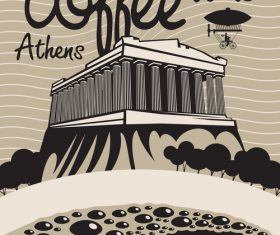 Coffee time vintage city poster template vector 06
