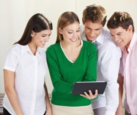 College students get together to watch videos Stock Photo