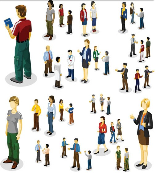 Color Different People Vector set