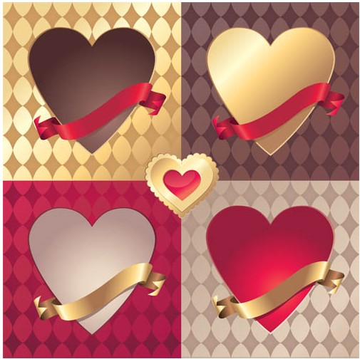 Color Hearts Elements set vector