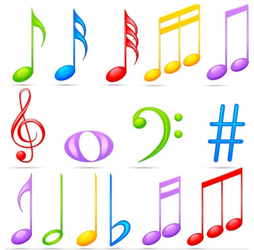Color Music Symbols art set vector