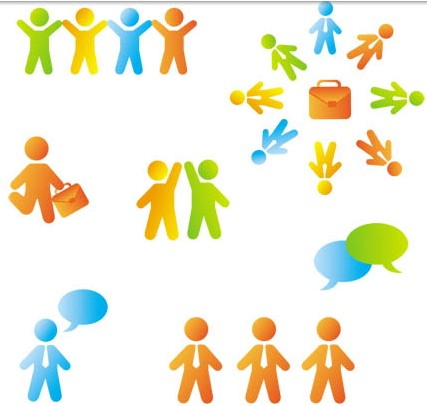 Color People Icons vector