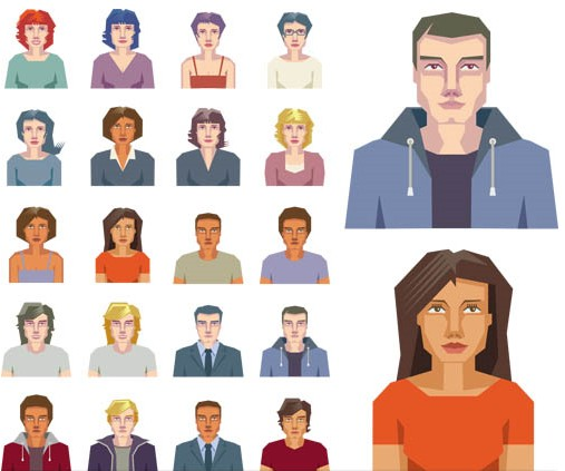 Color People Icons vectors