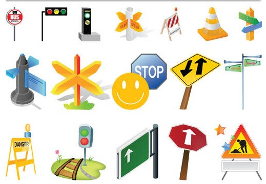 Color Road Signs vector graphic