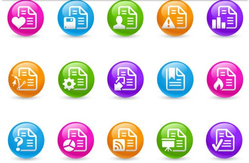 Color Round Icons set vector