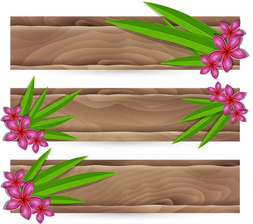 Color Wooden Ribbons art vector design