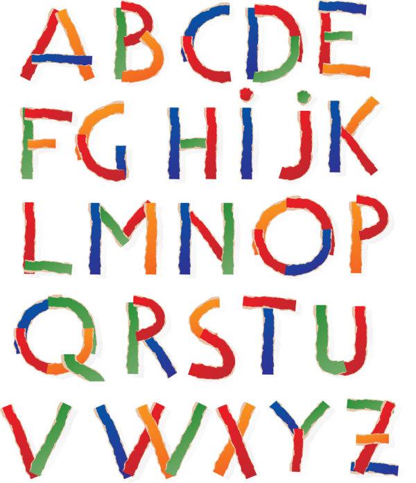 Color paper alphabet vector