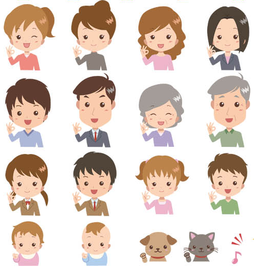Colored People Avatars 11 vector