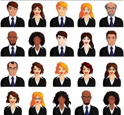 Colored People Avatars 13 design vector