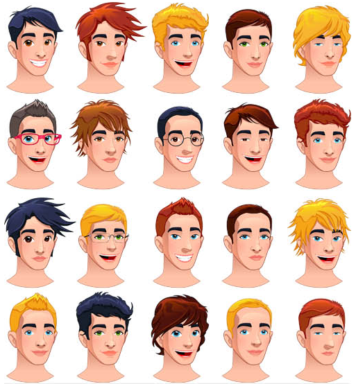 Colored People Avatars 4 set vector