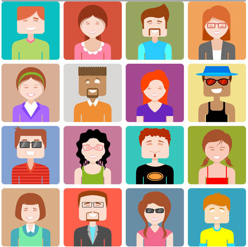 Colored People Avatars 5 vector graphics
