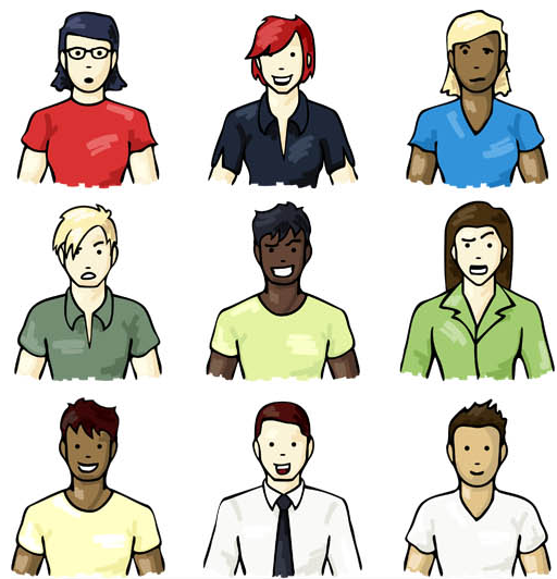 Colored People Avatars 7 vector
