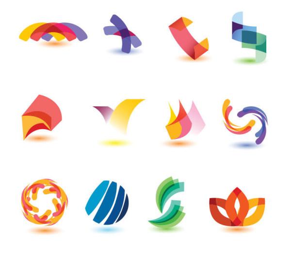 Colored abstract logos vector set