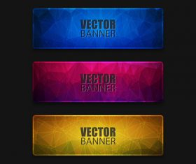 Colored glass banners template with polygon vectors 01