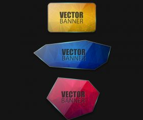 Colored glass banners template with polygon vectors 02