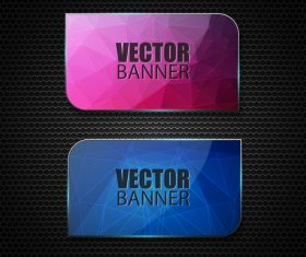 Colored glass banners template with polygon vectors 03