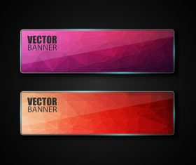 Colored glass banners template with polygon vectors 04