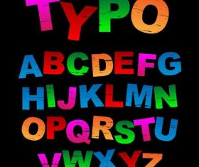 Colored grunge alphabet font vector