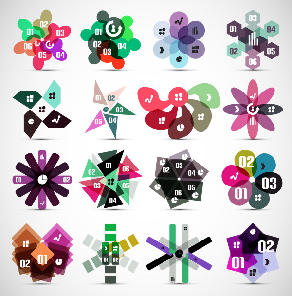 Colored number labels 1 vector