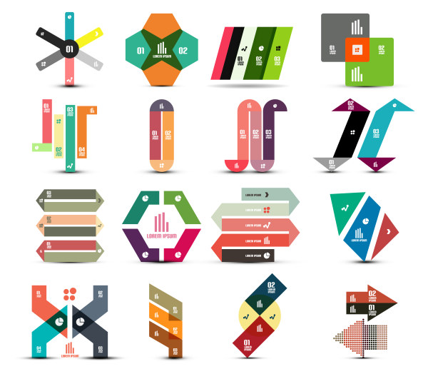 Colored number labels 2 vector