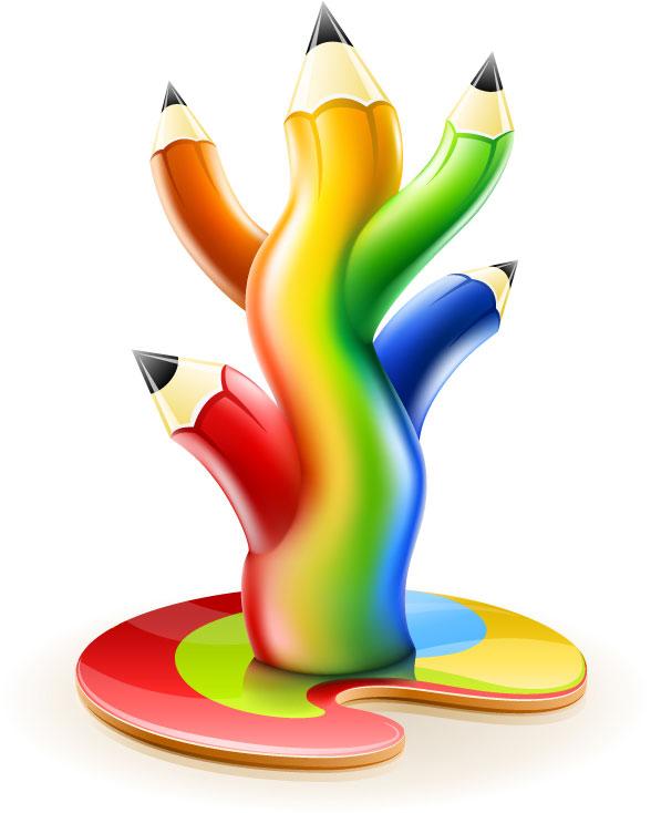 Colored pencil tree vectors material
