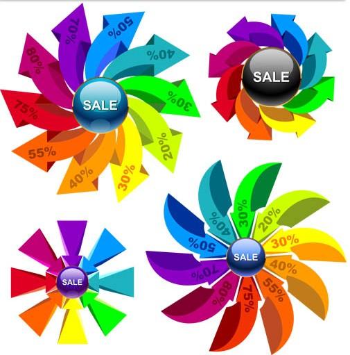 Colorful Arrows Labels Vector