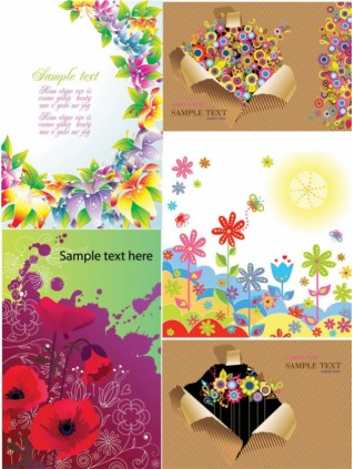 Colorful flower card background design vectors