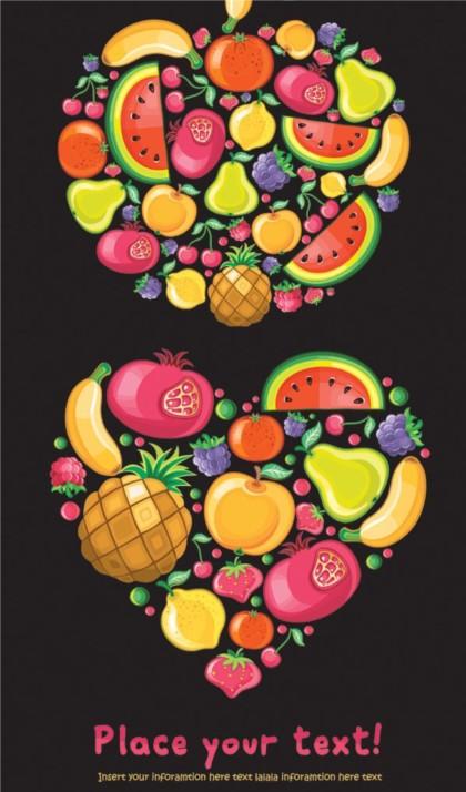 Colorful fruit design elements vector