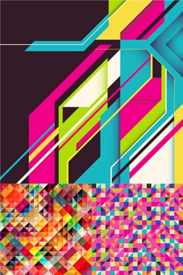 Colorful grid background vector set
