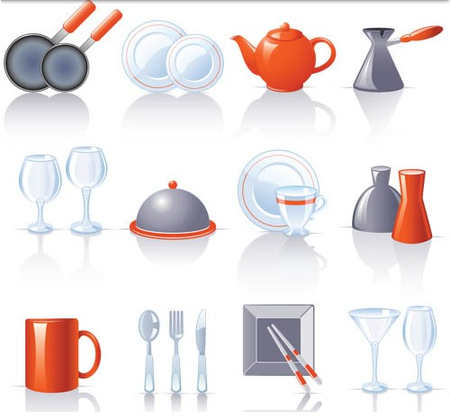 Colorful kitchen icons vector design