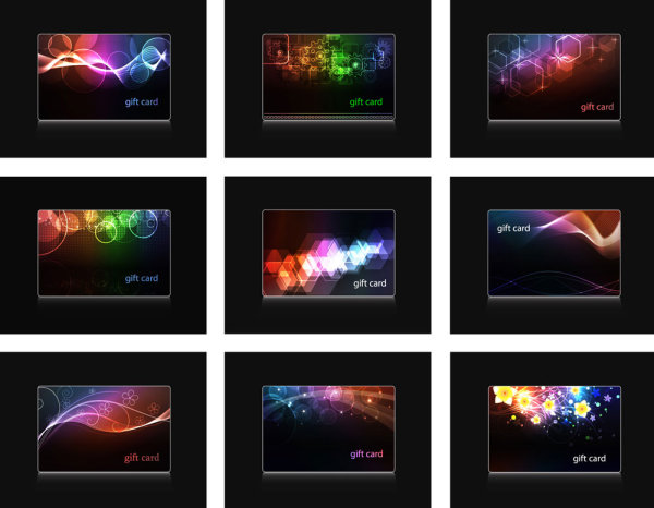 Colorful light cards vector