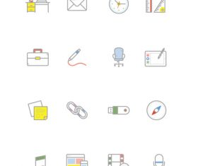 Common gray line type office supplies vector