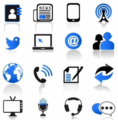 Communication and MediIcons Set vector graphic
