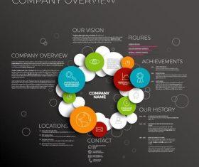 Company profile circles dark template vector