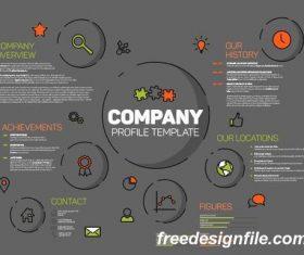 Company profile modern thinline duocol dark vector