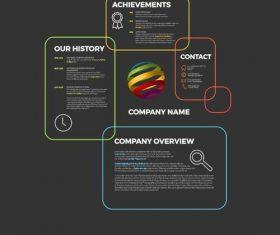 Company profile obdelniky lines dark template vector