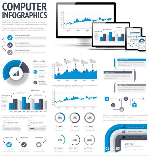 Computer Infographics Elements vector