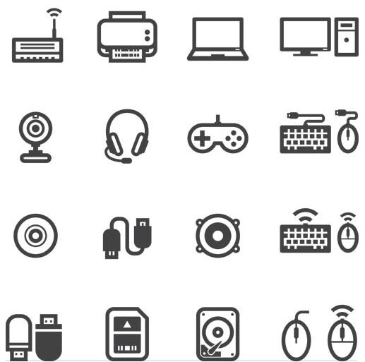 Computers Black Icons vectors