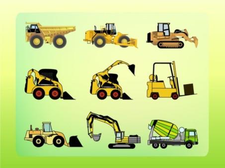 Construction Vehicles set vector