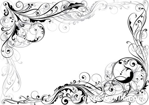 Corner swirl floral decor design vector